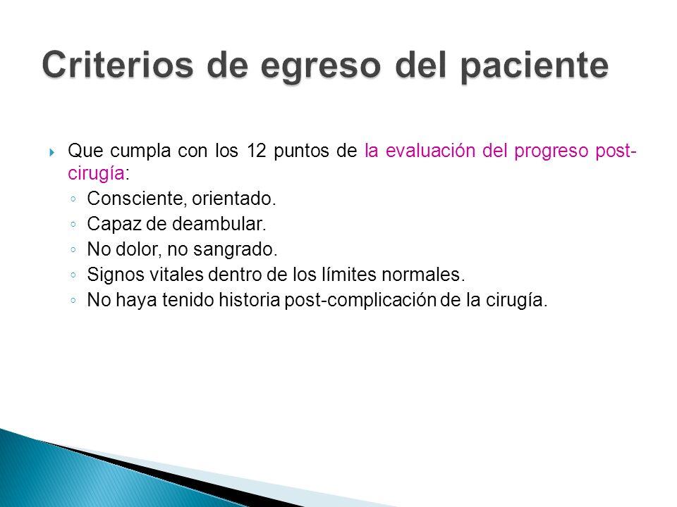 Criterios de egreso del paciente