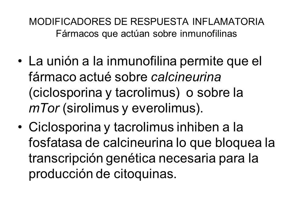 MODIFICADORES DE RESPUESTA INFLAMATORIA Fármacos que actúan sobre inmunofilinas