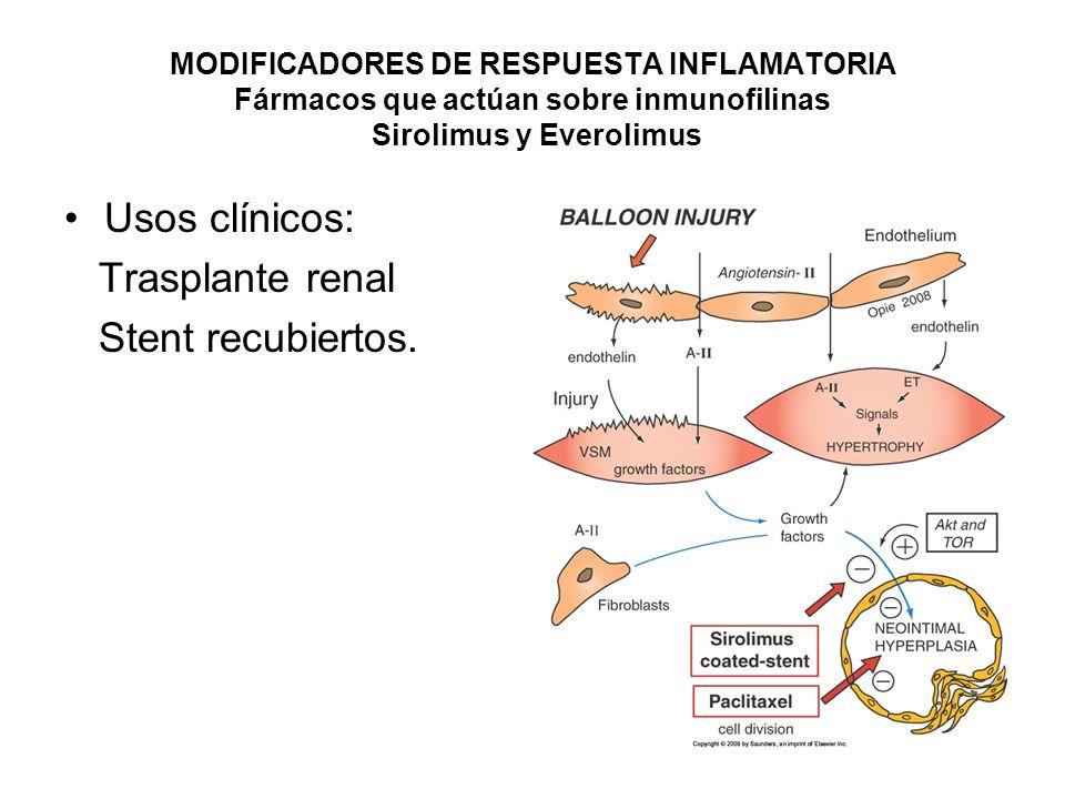 Usos clínicos: Trasplante renal Stent recubiertos.