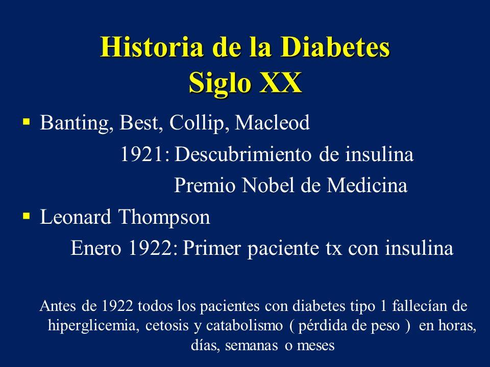 Historia de la Diabetes Siglo XX