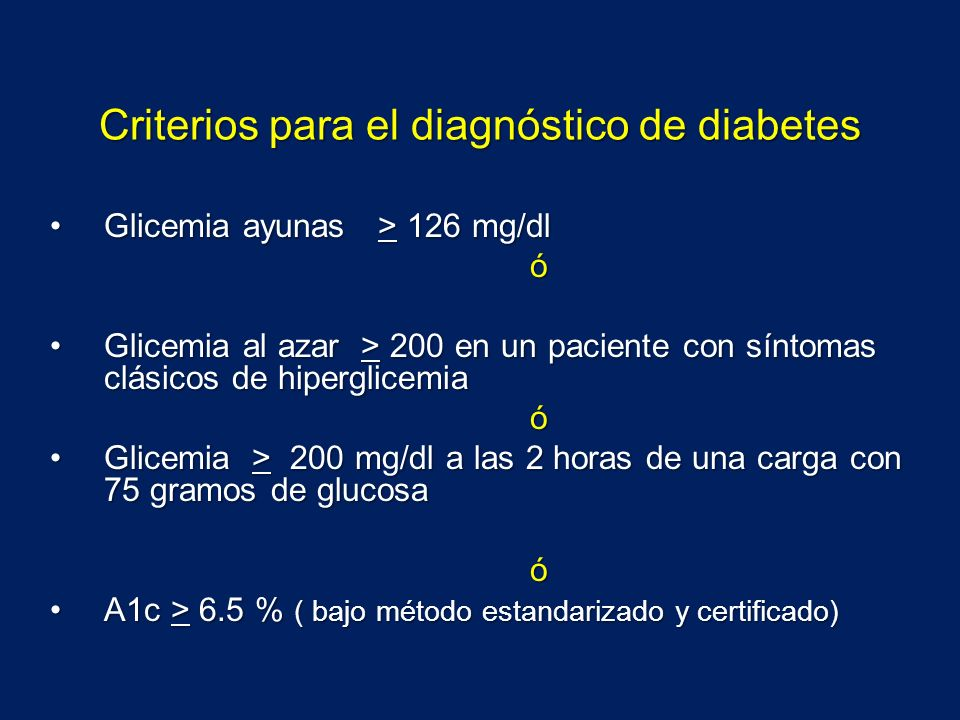 Criterios para el diagnóstico de diabetes