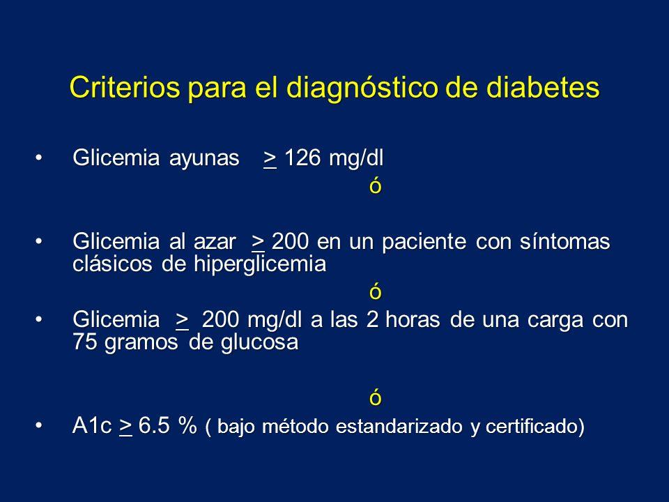 Criterios para el diagnóstico de diabetes