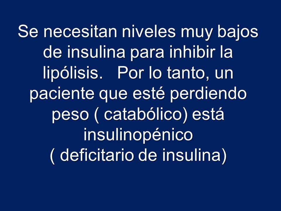 Se necesitan niveles muy bajos de insulina para inhibir la lipólisis