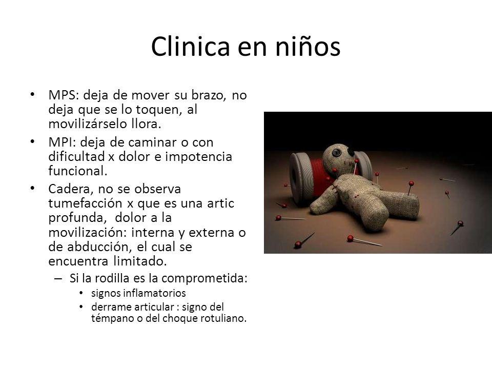 Clinica en niños MPS: deja de mover su brazo, no deja que se lo toquen, al movilizárselo llora.
