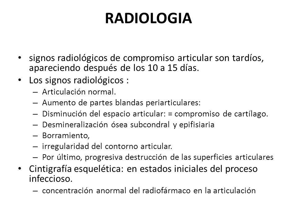 RADIOLOGIA signos radiológicos de compromiso articular son tardíos, apareciendo después de los 10 a 15 días.