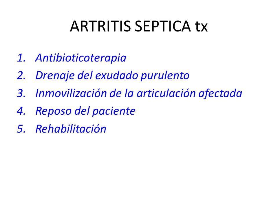 ARTRITIS SEPTICA tx Antibioticoterapia Drenaje del exudado purulento