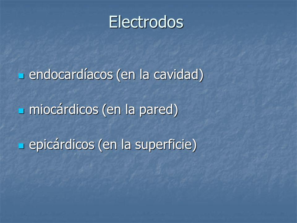 Electrodos endocardíacos (en la cavidad) miocárdicos (en la pared)