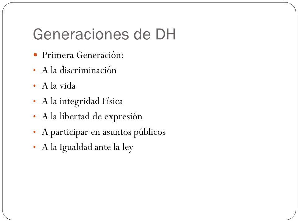 Generaciones de DH Primera Generación: A la discriminación A la vida