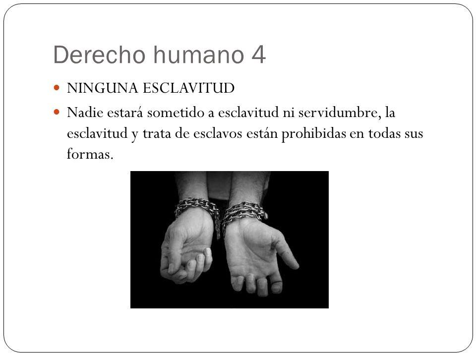 Derecho humano 4 NINGUNA ESCLAVITUD