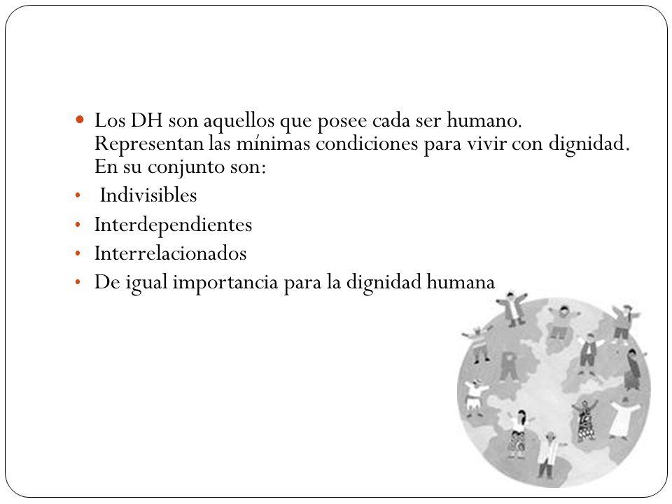Los DH son aquellos que posee cada ser humano