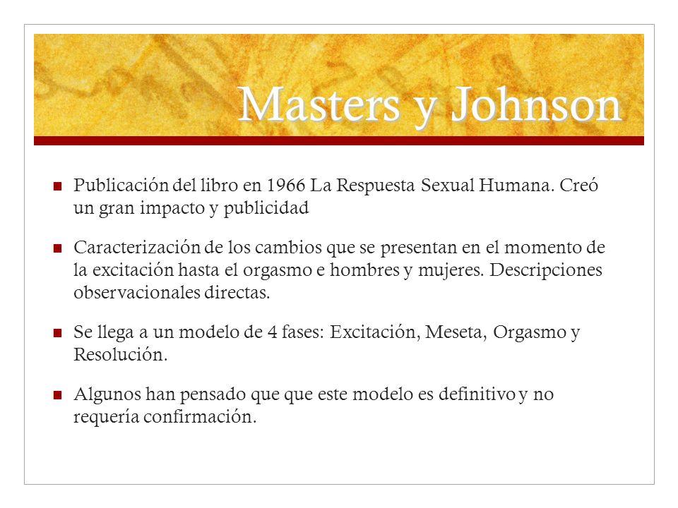 Masters y Johnson Publicación del libro en 1966 La Respuesta Sexual Humana. Creó un gran impacto y publicidad.
