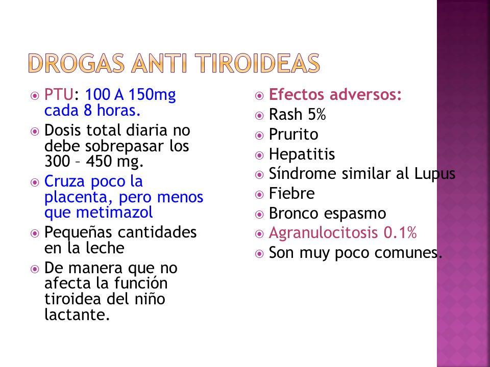 Drogas Anti tiroideas PTU: 100 A 150mg cada 8 horas.