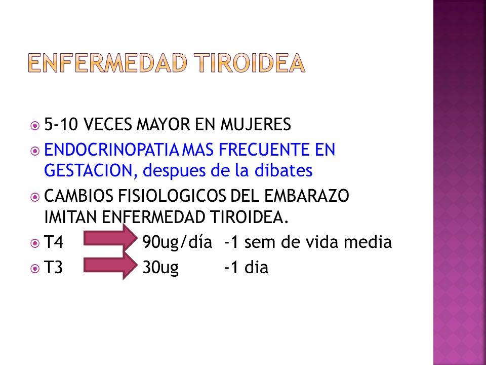 ENFERMEDAD TIROIDEA 5-10 VECES MAYOR EN MUJERES