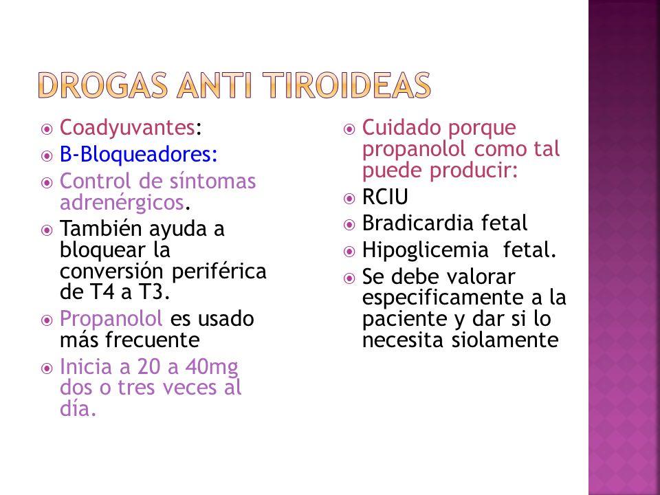 Drogas Anti tiroideas Coadyuvantes: B-Bloqueadores: