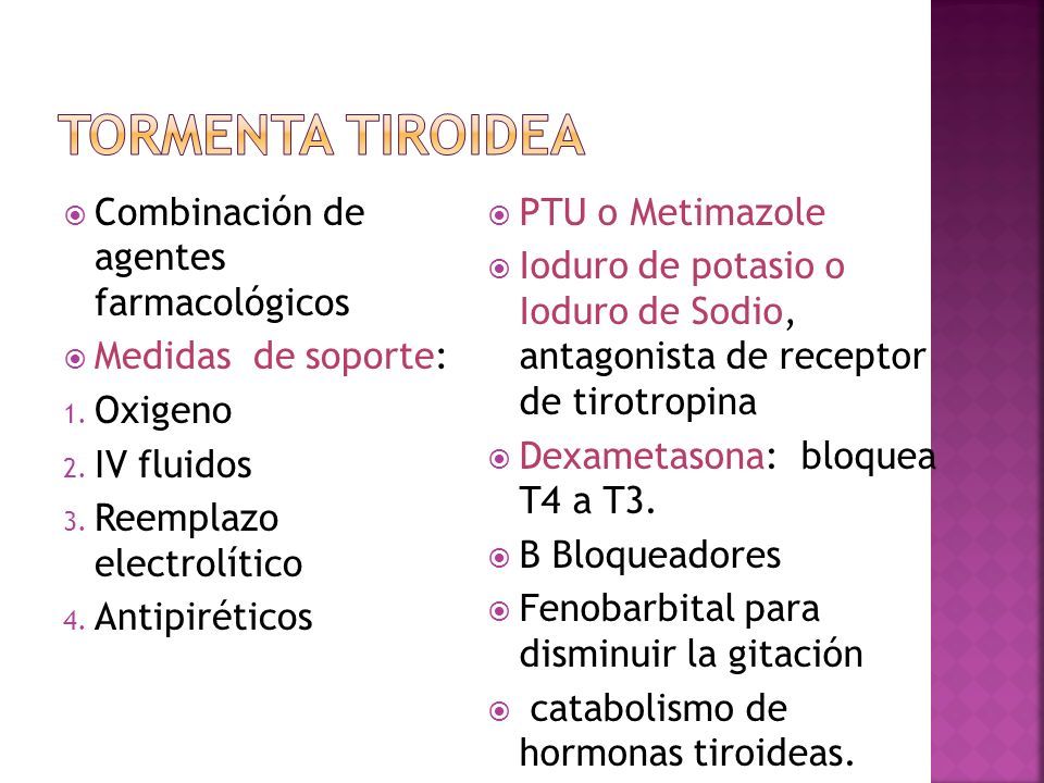 Tormenta Tiroidea Combinación de agentes farmacológicos