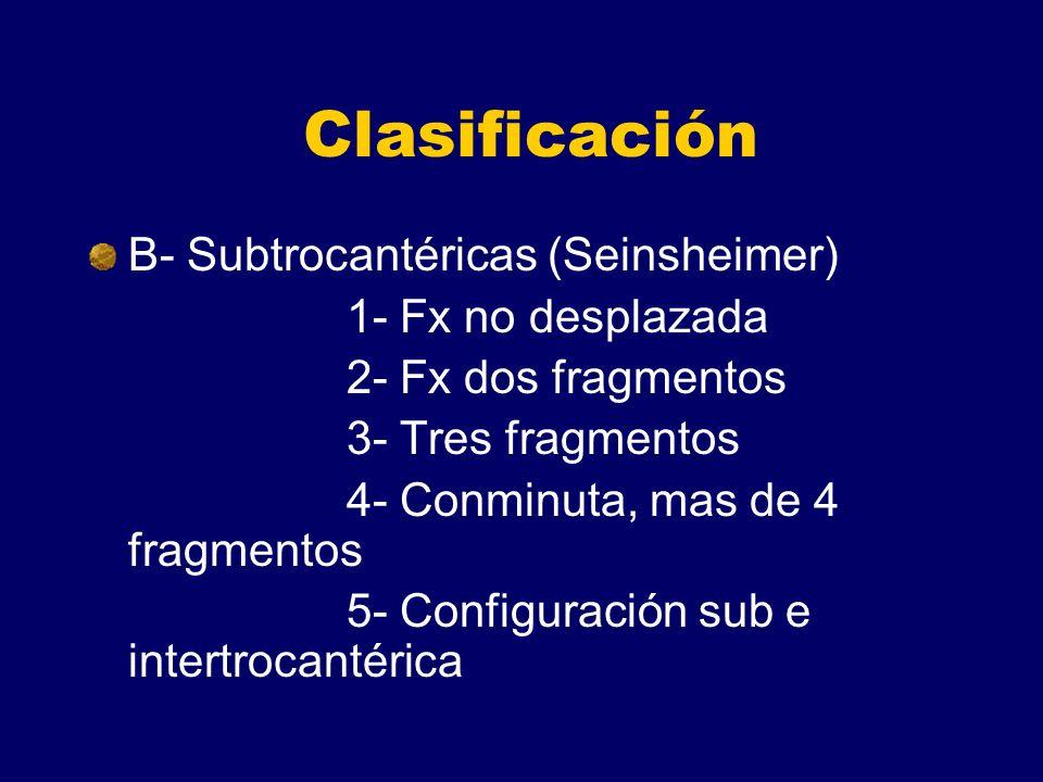 Clasificación B- Subtrocantéricas (Seinsheimer) 1- Fx no desplazada