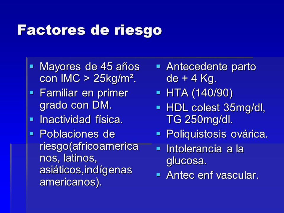 Factores de riesgo Mayores de 45 años con IMC > 25kg/m².