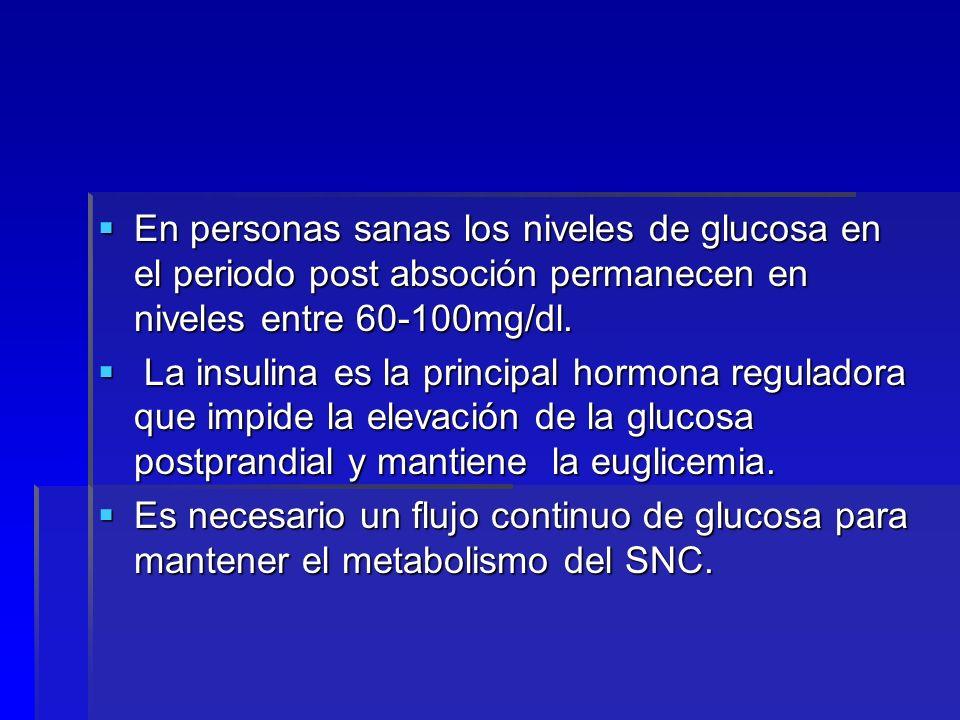 En personas sanas los niveles de glucosa en el periodo post absoción permanecen en niveles entre 60-100mg/dl.