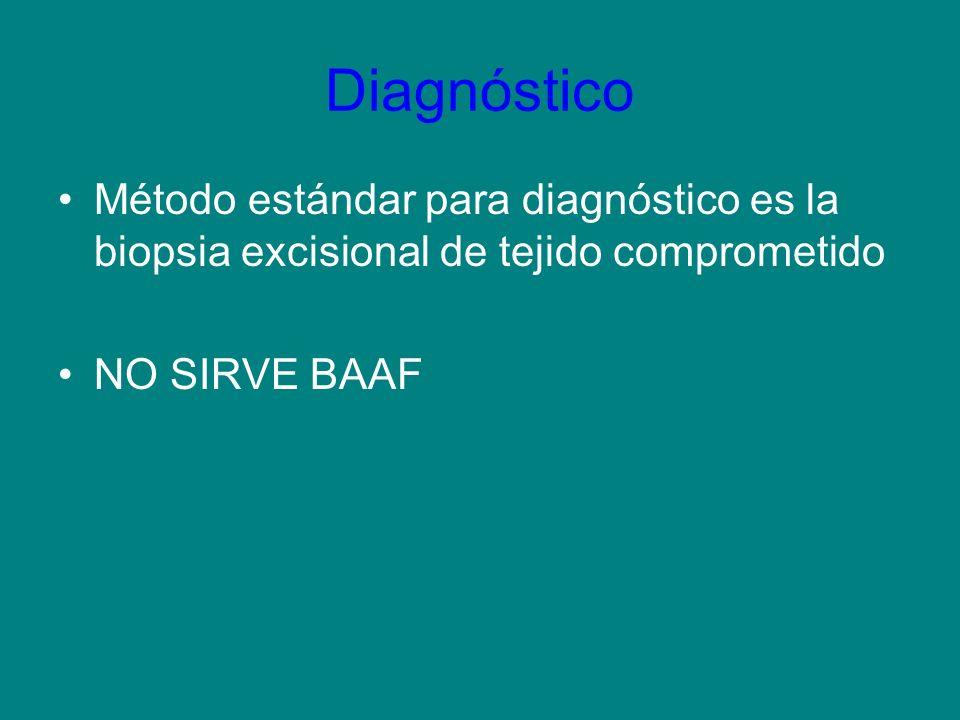 Diagnóstico Método estándar para diagnóstico es la biopsia excisional de tejido comprometido.