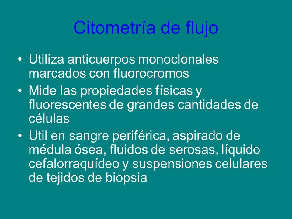 Citometría de flujo Utiliza anticuerpos monoclonales marcados con fluorocromos.