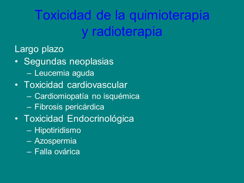 Toxicidad de la quimioterapia y radioterapia