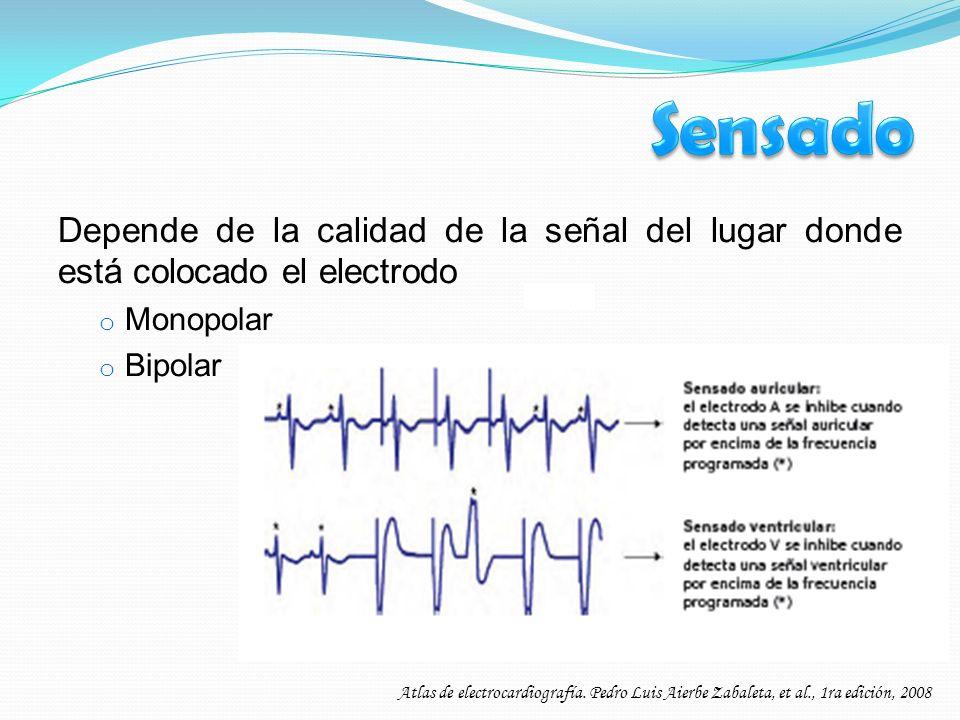 Sensado Depende de la calidad de la señal del lugar donde está colocado el electrodo. Monopolar. Bipolar.
