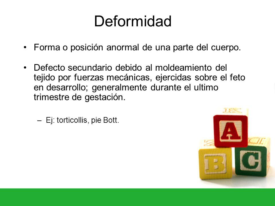 Deformidad Forma o posición anormal de una parte del cuerpo.