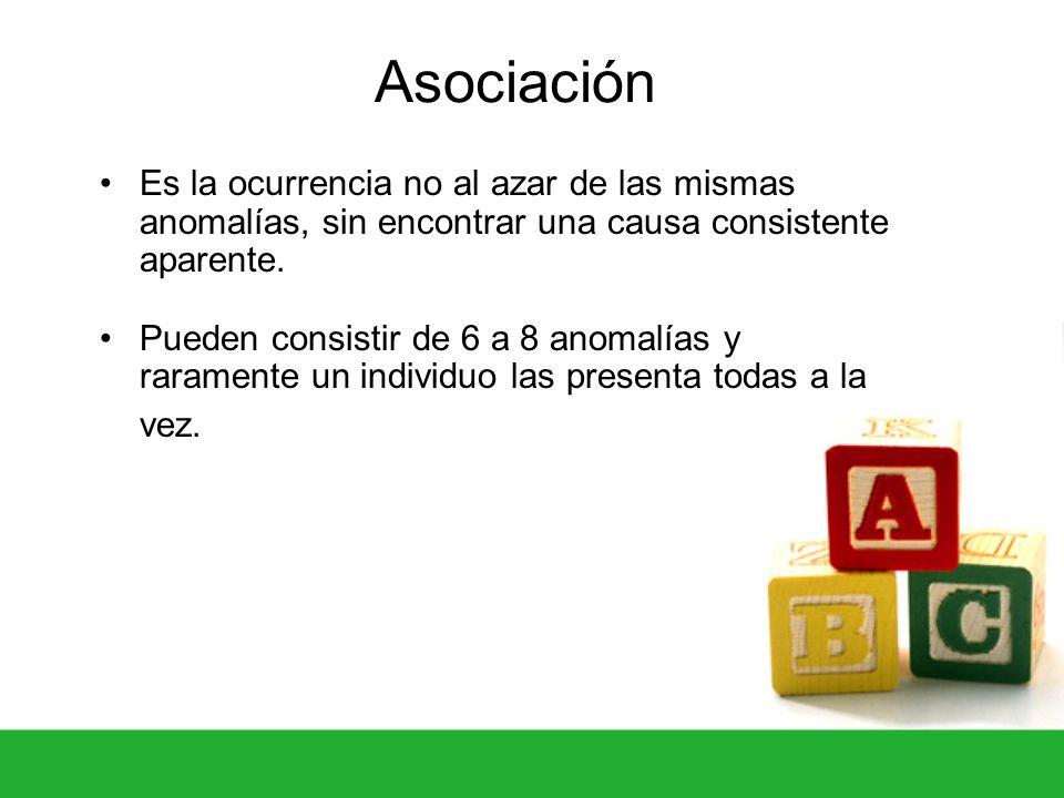 Asociación Es la ocurrencia no al azar de las mismas anomalías, sin encontrar una causa consistente aparente.