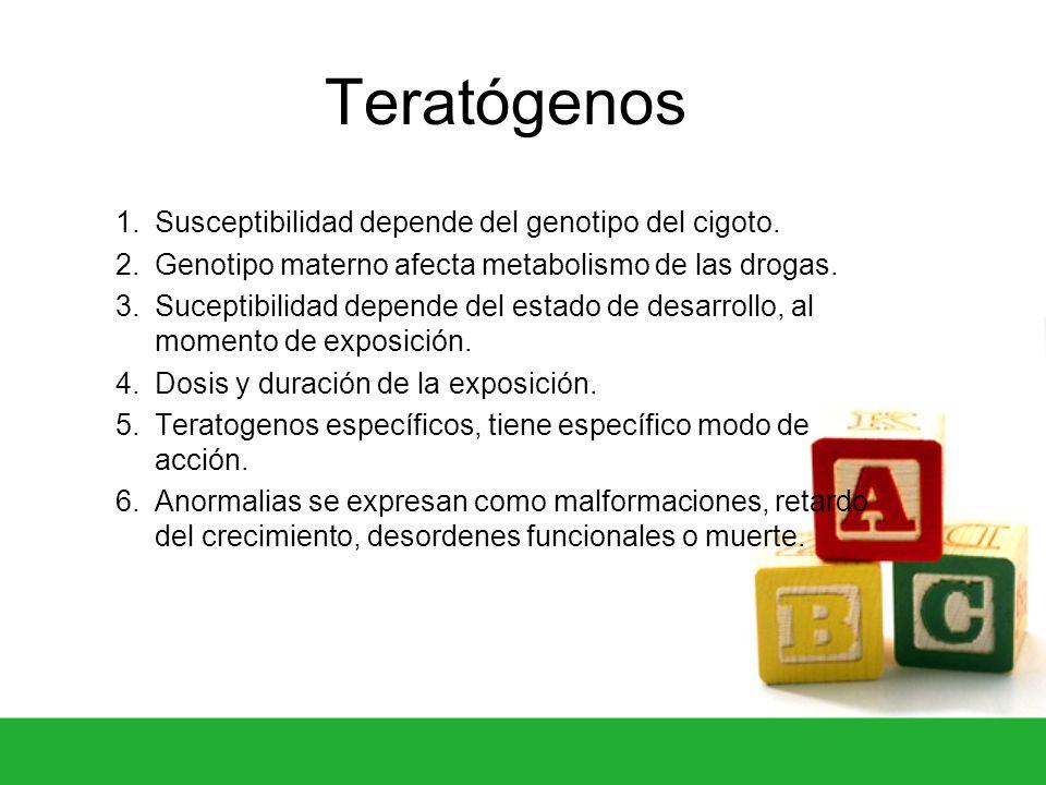 Teratógenos Susceptibilidad depende del genotipo del cigoto.