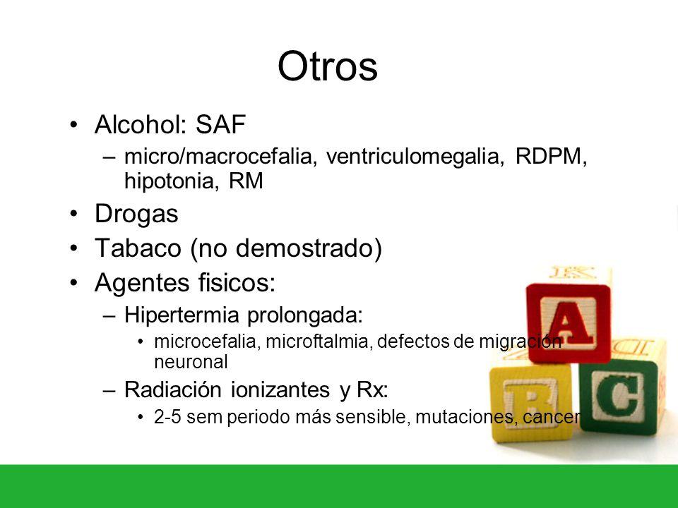 Otros Alcohol: SAF Drogas Tabaco (no demostrado) Agentes fisicos: