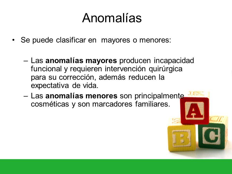 Anomalías Se puede clasificar en mayores o menores: