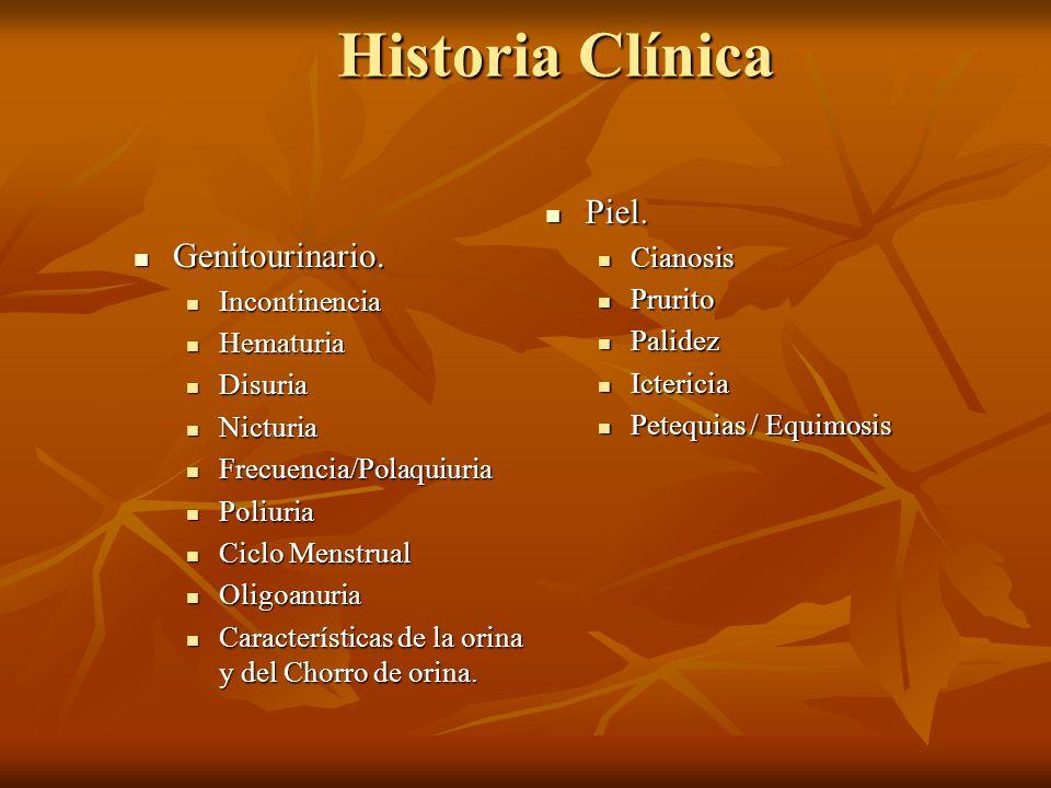 Historia Clínica Piel. Genitourinario. Cianosis Prurito Incontinencia