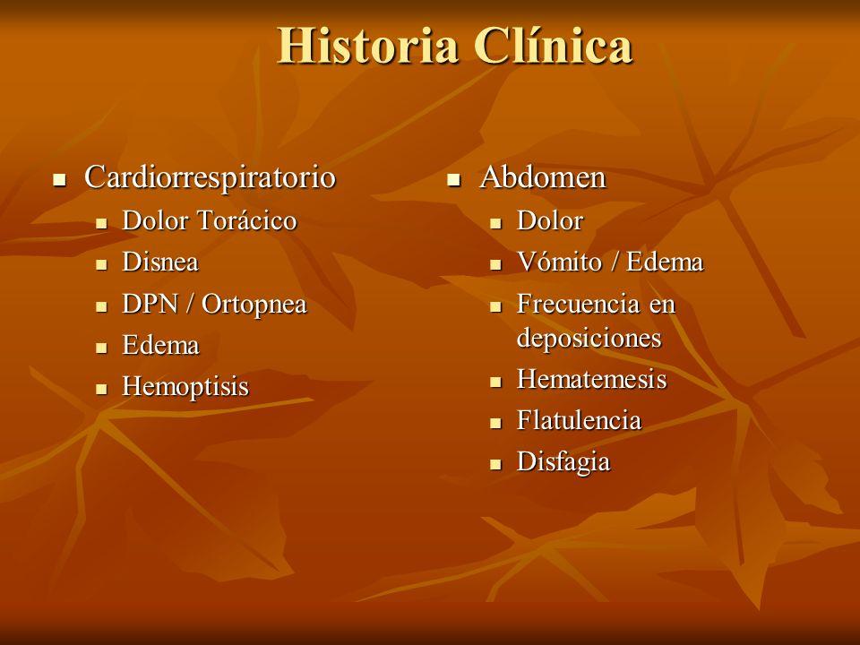 Historia Clínica Cardiorrespiratorio Abdomen Dolor Torácico Disnea