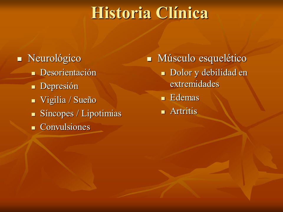 Historia Clínica Neurológico Músculo esquelético Desorientación
