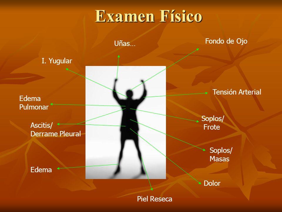 Examen Físico Fondo de Ojo Uñas… I. Yugular Tensión Arterial Edema