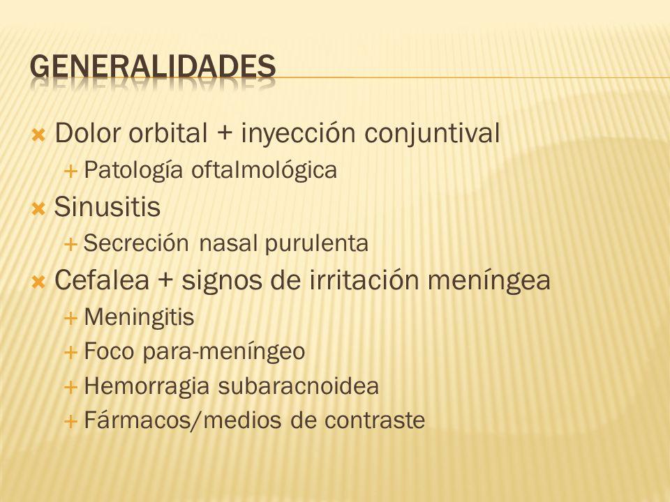 GENERALIDADES Dolor orbital + inyección conjuntival Sinusitis