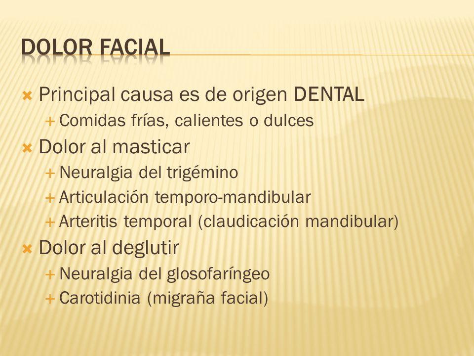 DOLOR FACIAL Principal causa es de origen DENTAL Dolor al masticar