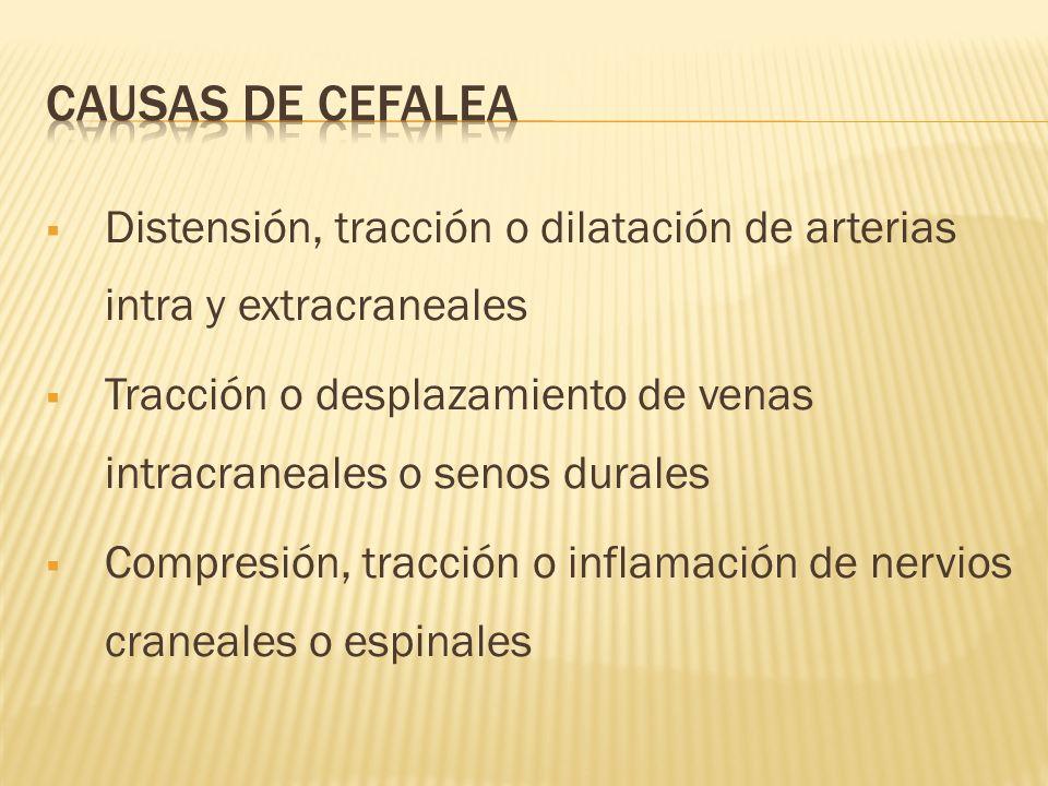 CAUSAS DE CEFALEA Distensión, tracción o dilatación de arterias intra y extracraneales.