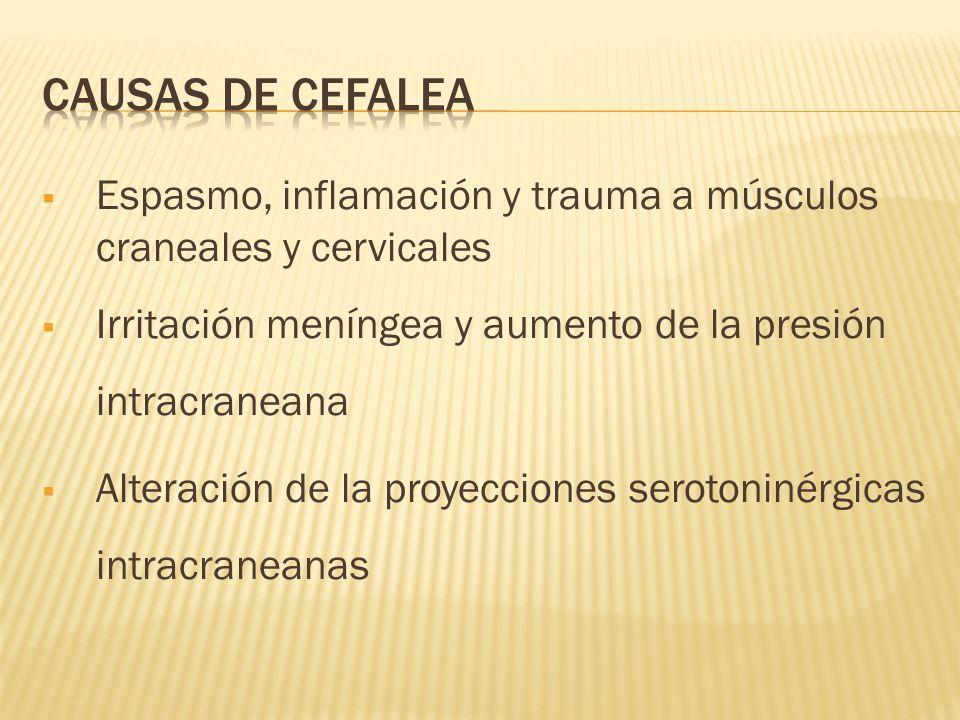 CAUSAS DE CEFALEA Espasmo, inflamación y trauma a músculos craneales y cervicales. Irritación meníngea y aumento de la presión intracraneana.