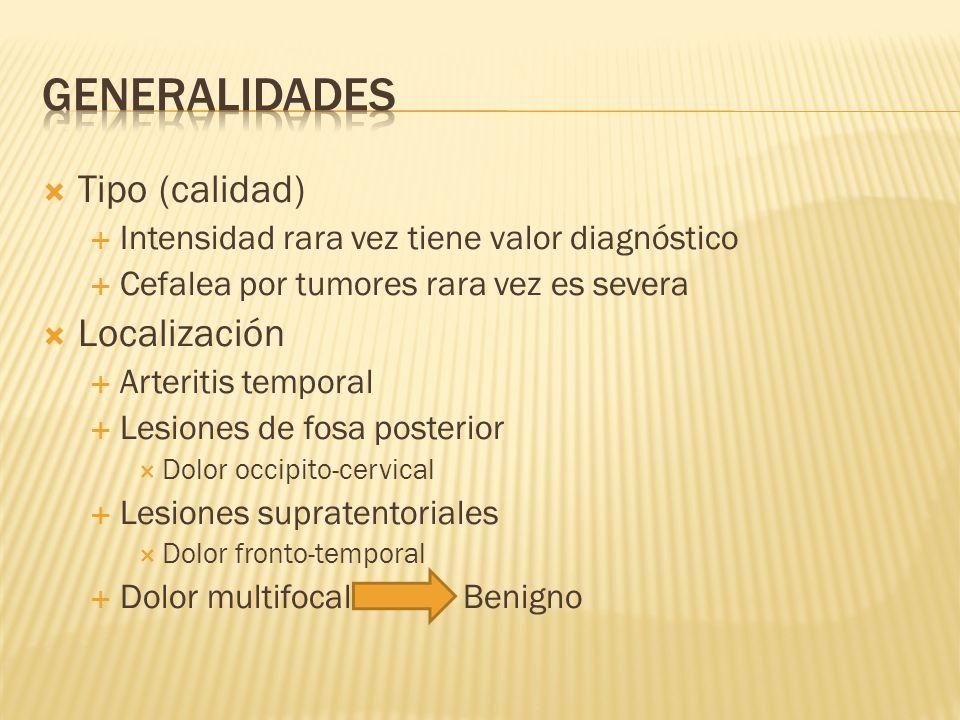 GENERALIDADES Tipo (calidad) Localización