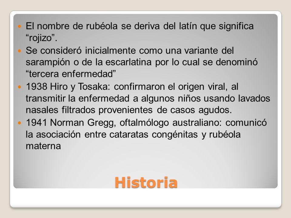El nombre de rubéola se deriva del latín que significa rojizo .