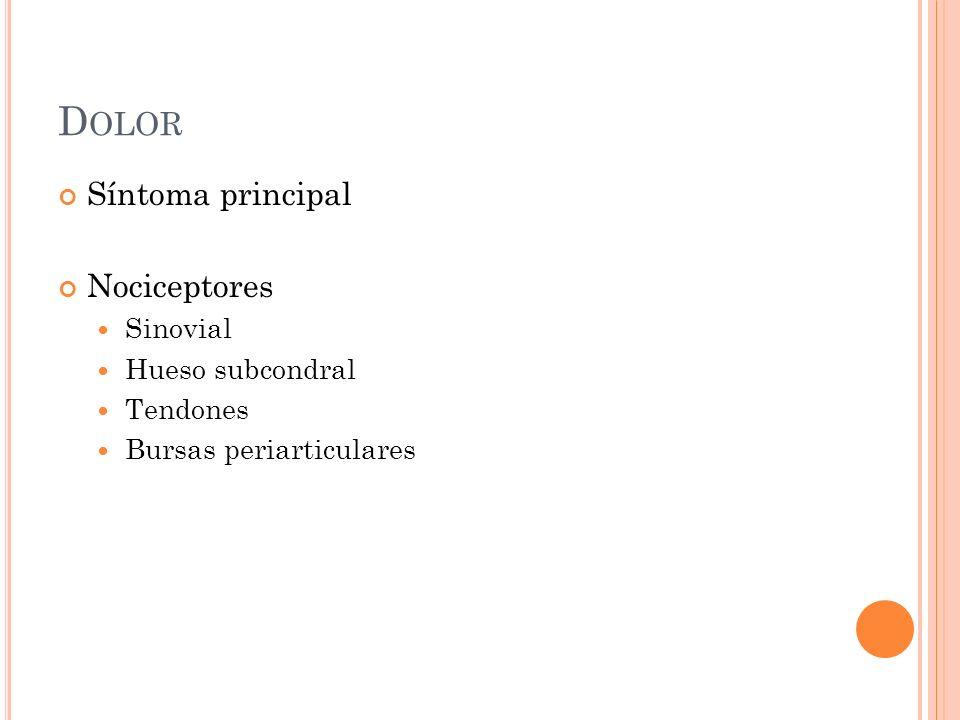 Dolor Síntoma principal Nociceptores Sinovial Hueso subcondral