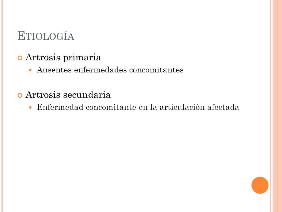 Etiología Artrosis primaria Artrosis secundaria