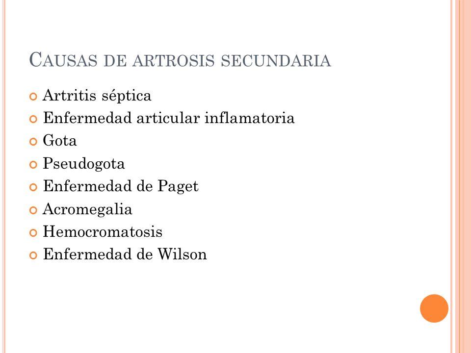 Causas de artrosis secundaria
