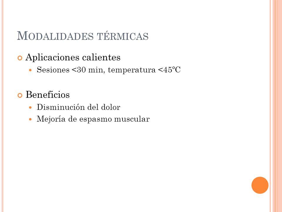 Modalidades térmicas Aplicaciones calientes Beneficios