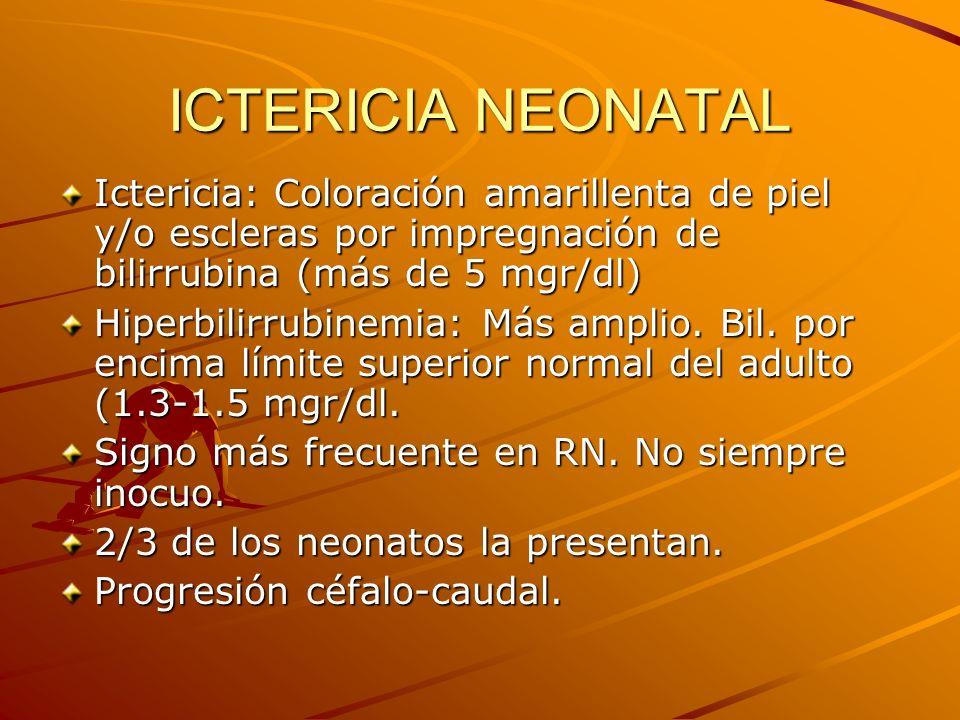 ICTERICIA NEONATAL Ictericia: Coloración amarillenta de piel y/o escleras por impregnación de bilirrubina (más de 5 mgr/dl)
