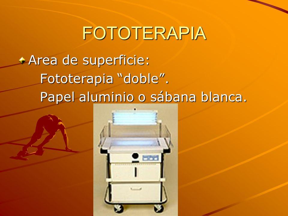 FOTOTERAPIA Area de superficie: Fototerapia doble .