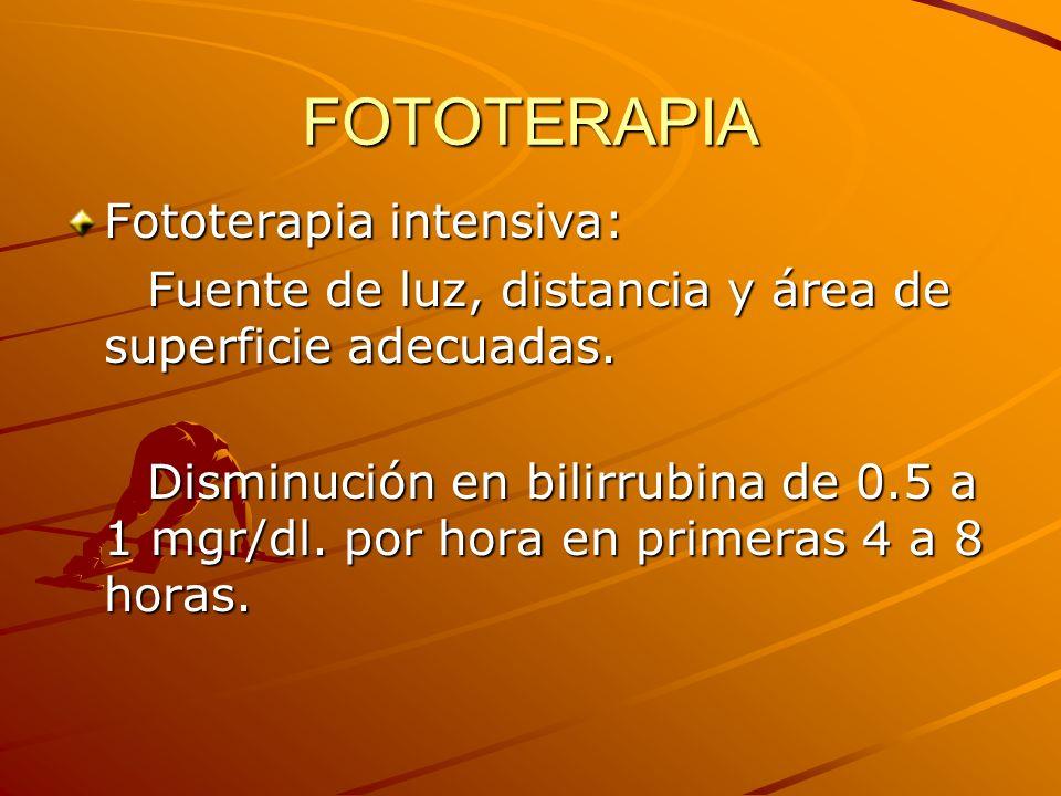 FOTOTERAPIA Fototerapia intensiva: