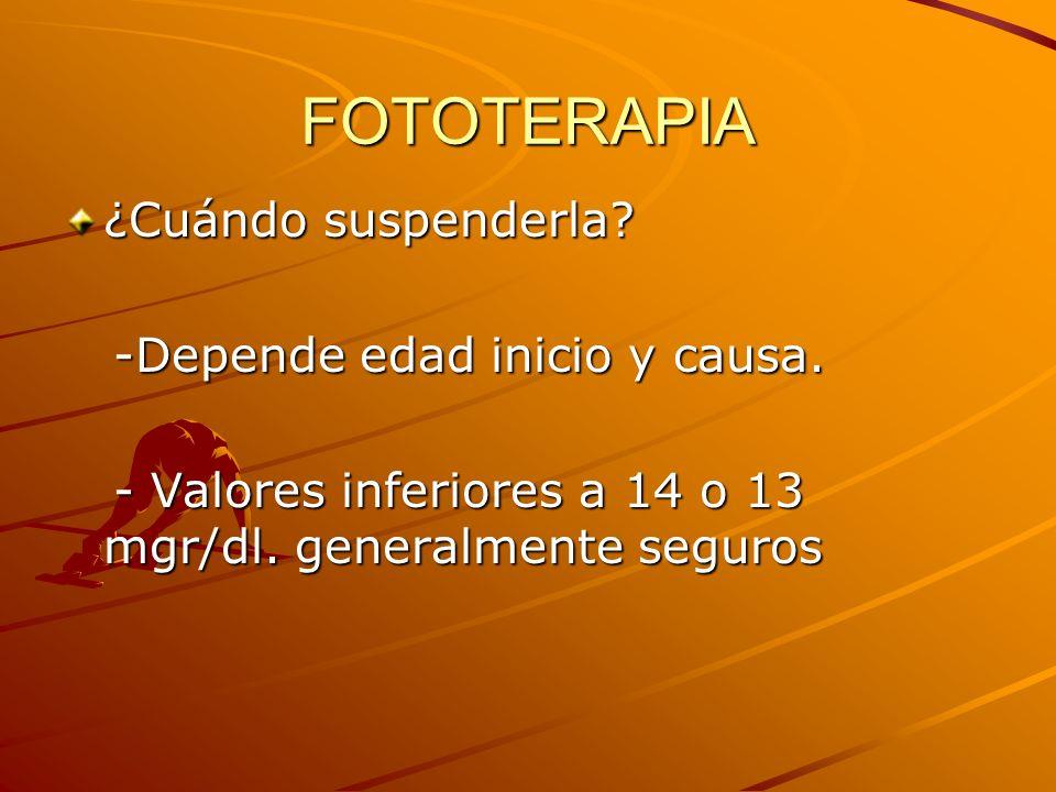 FOTOTERAPIA ¿Cuándo suspenderla -Depende edad inicio y causa.