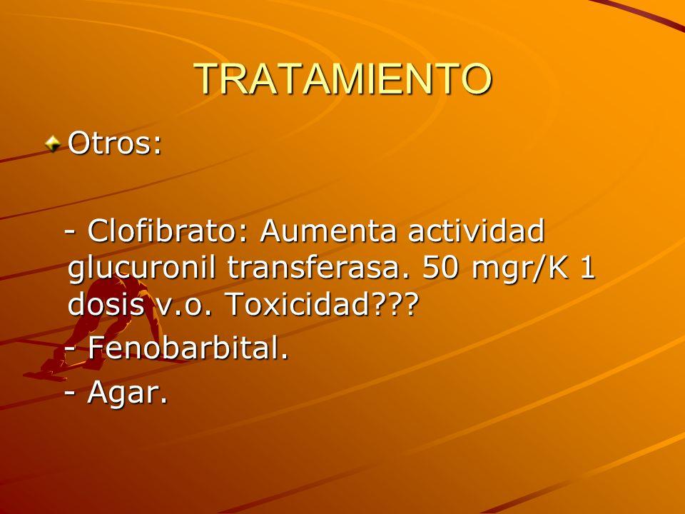 TRATAMIENTO Otros: - Clofibrato: Aumenta actividad glucuronil transferasa. 50 mgr/K 1 dosis v.o. Toxicidad